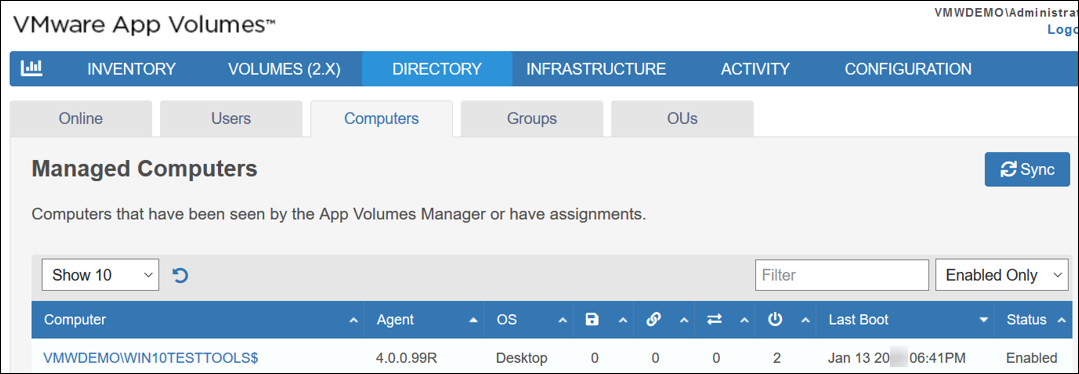 VMware App Volumes Managed Computers