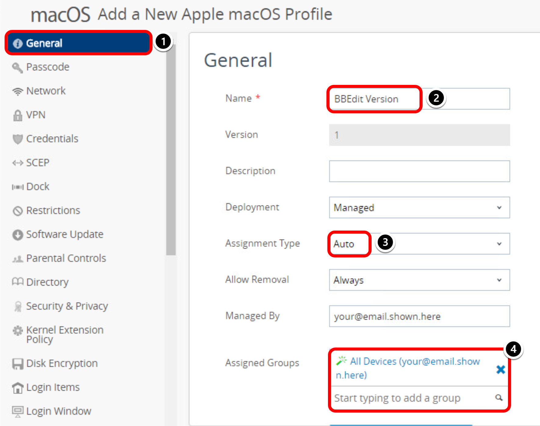 Configure General Profile Settings