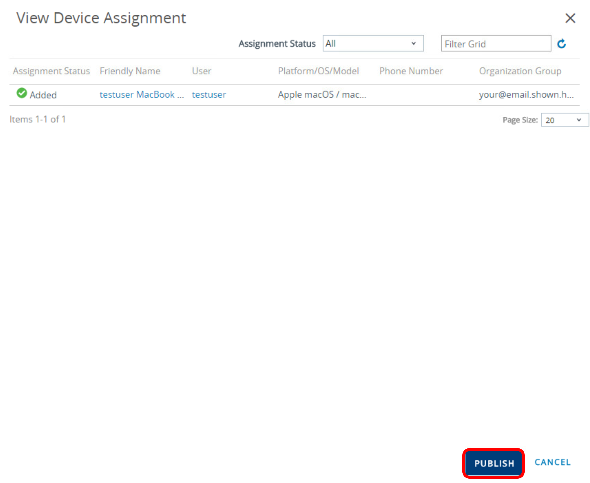 Publish to Device Assignment