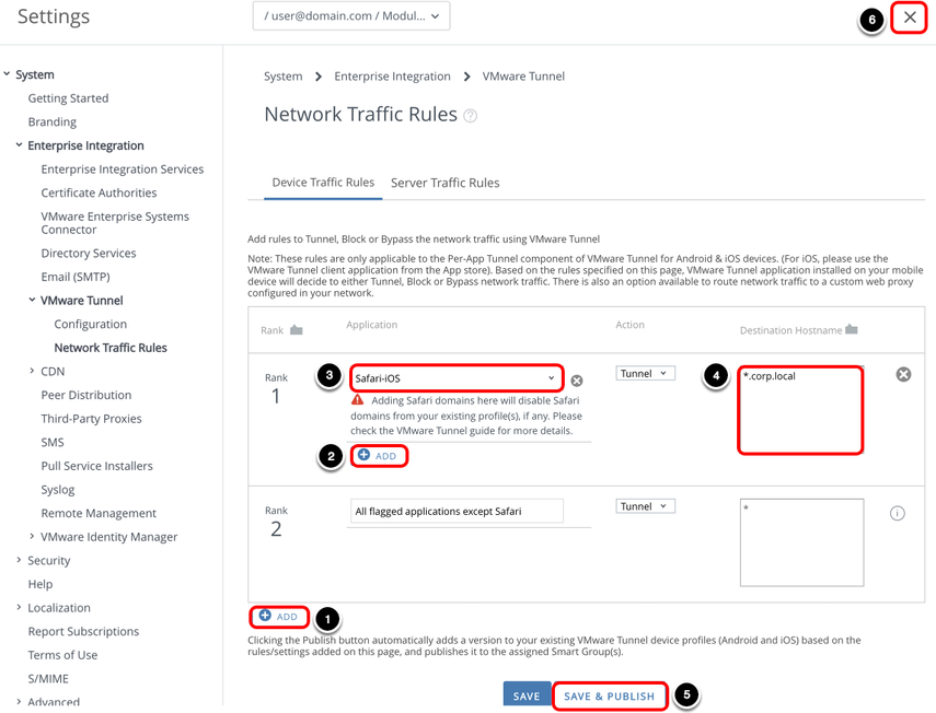 Create Device Traffic Rules