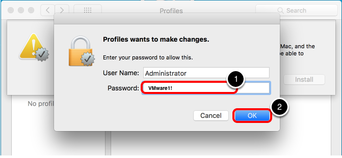 Enter Administrative Credentials for Profile Install
