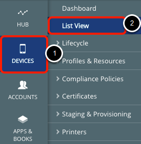 Access Device List View