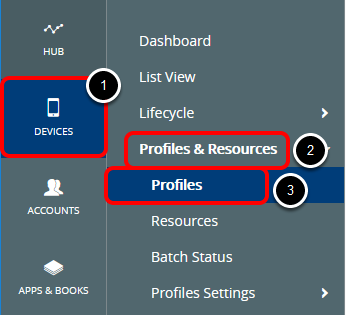 Navigate to Profiles List View